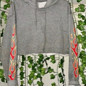 Grey crop fire hoodie